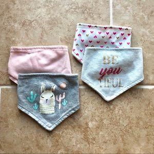Never used baby girl bandana bibs
